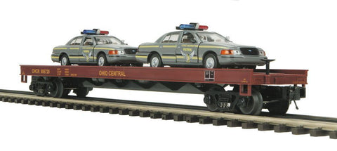 MTH 1:48 O Scale Ohio Central OHCR #891525 Flat Car w/2 Ford Police Cars Train Model #20-98488 car number 806725 eventhough picture shows car number 891525 Ready to Run