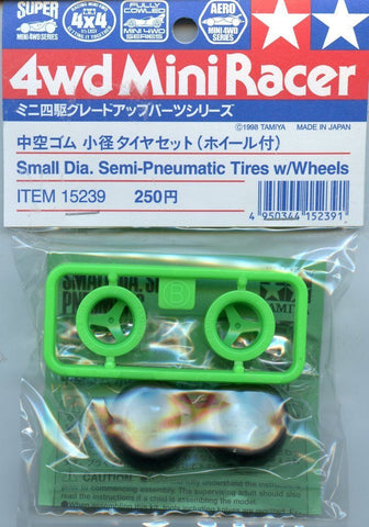 Tamiya 4WD Mini Racer Small Dia. Semi-Pneumatic Tires w/ Wheels 2 Pack #15239 N/A Tamiya