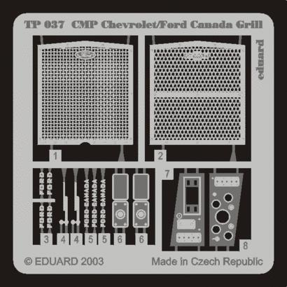Eduard 1: 35 CMP Chevrolet/Ford Canada Grill PE Detail Set For ITALERI #TP037