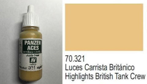 Vallejo Acrylic Paint Panzer Aces 17ml Highlights British Tank Crew #70.321 N/A Vallejo
