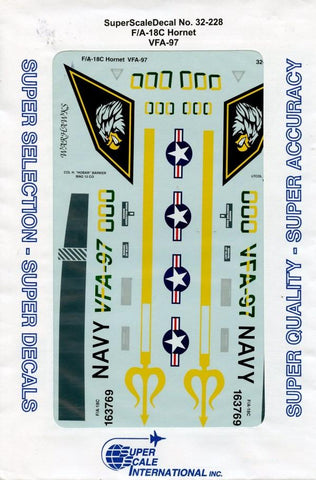 SuperScale Decals 1:32 F/A-18C Hornet VFA-97 Decal Sheet #32-228 N/A Super Scale Decals