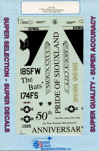 SuperScale Decals 1:32 F-16C Wing Commander 174th FS/185th FW #32-140 N/A Super Scale Decals