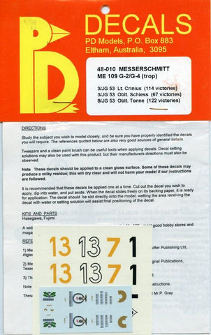 PD Decals 1:48 Messerschmitt ME-109 G-2/G-4 (Trop) #48-010 N/A PD Decals