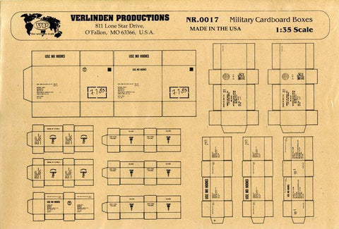 Verlinden Productions 1:35 US and German Military Cardboard Boxes WWII #0017 N/A Verlinden Productions