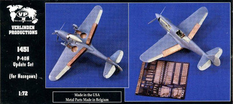 Verlinden Productions 1:72 P-40N Sudate Set for Hasegawa Kit - Resin PE #1451 N/A Verlinden