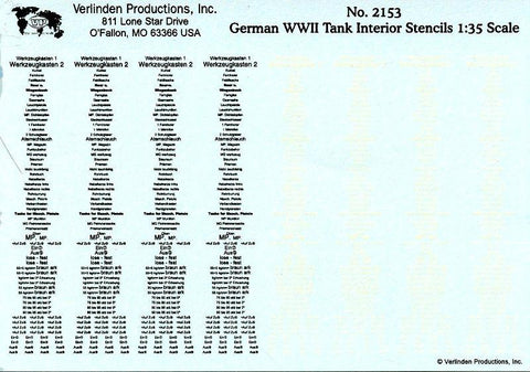 Verlinden Productions 1:35 German WWII Tank Interior Stencils Decal #2153 N/A Verlinden Productions