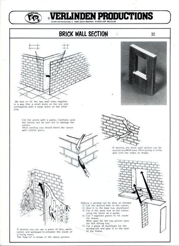 Verlinden Productions 1:35 Brick Wall Section Printed Carton Diorama Acc #32 N/A Verlinden Productions