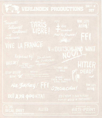 Verlinden Productions 1:35 WWII Allied Wall Slogans White Dry Transfer #357 N/A Verlinden Productions