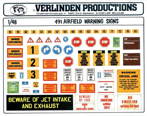 Verlinden Productions 1:48 Modern Airfield Warning Signs #491 N/A Verlinden Productions