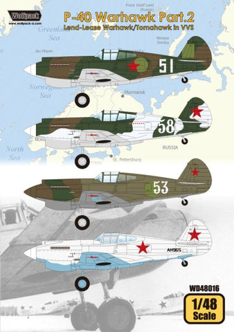 Wolfpack 1:48 P-40 Warhawk Part.2 Land-Lease Tomahawk in VVS Decal #WD48016 N/A Wolfpack Design