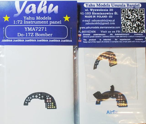 Yahu Model 1:72 Do-17 Z Bomber Color Instrument Panel for Airfix Kit #YMA7271 N/A Yahu Model