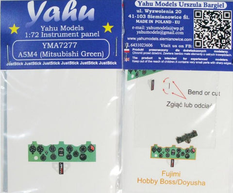 Yahu Model 1:72 A5M4 Color Instrument Panel for Fujimi/Hobby Boss #YMA7277 N/A Yahu Model