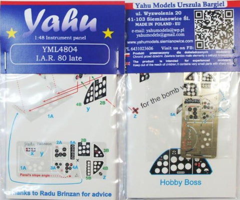 Yahu Model 1:48 I.A.R 80 Late Color Instrument Panel for Hobby Boss #YML4804 N/A Yahu Model