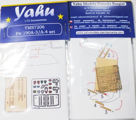 Yahu Model 1:72 Fw 190 A-3 A-4 Detail Accessory Set for Tamiya Zvezda #YMS7206 N/A Yahu Model