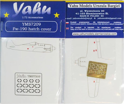 Yahu Model 1:72 Fw-190 Hatch Cover Detail Set for Eduard Kit #YMS7209 N/A Yahu Model