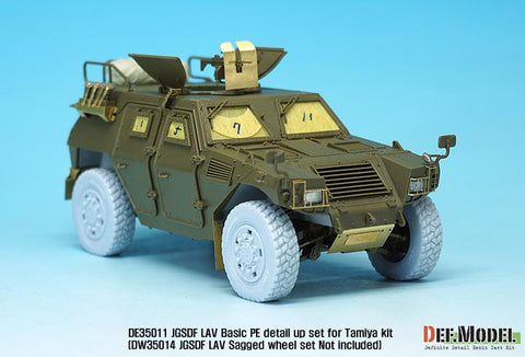 JGSDF LAV PE detail up set for Tamiya 1/35 kit     pre cutting window mask seal included     Not included resin wheel parts(DW35014)     Mirror sticker for side mirror parts     2 Kind of antenna mounting bracket option