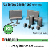 US Jersey Barrier set (Narrow type)     Narrow type Jersey Barrier with accessaries.     Total 16 resin parts