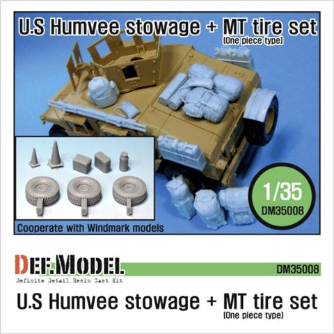US Humvee Stowage set + MT tire set for All 1/35 Humvee kits.     Various accessaries,     5 'One piece type' MT Tires included with spare tire.     Total 43 resin parts