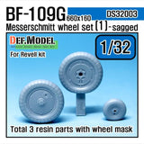 Bf109G wheel set 1 for Revell 1/32     Continental 660 x 160 tyre main gear wheel, Naturally weighted bulge shape     Ribbed tyre and hub type     Included tail wheel, size 350x135     Total 3 resin parts and Wheel mask