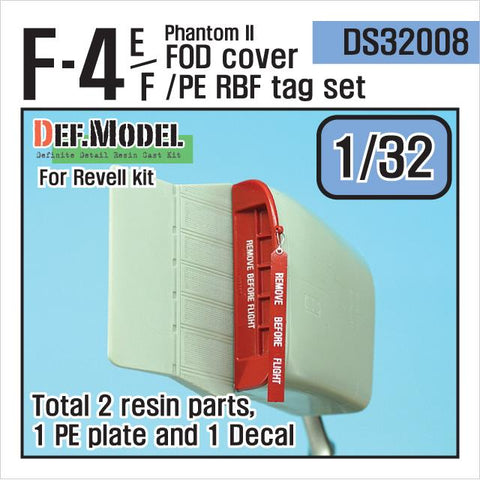 F-4E/F Phantom II FOD coverl set for Revell 1/32     Also include PE RBF Tag and decal set.     Total 2 resin parts, 1 PE plate and 1 decal.