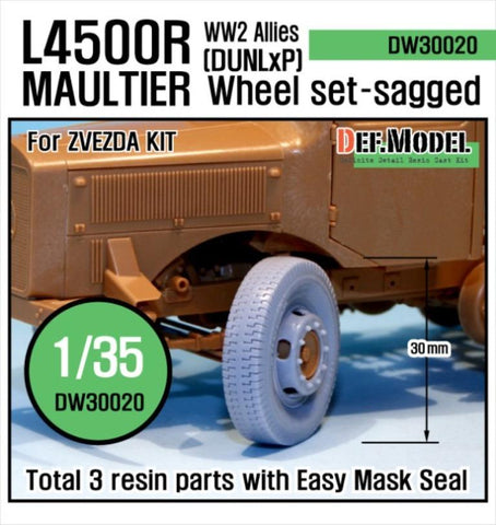 Allies use Benz L4500R Maultier Wheel set for Zvezda 1/35     Dunlop sagged 2 front wheels and 1 spare wheel     Naturally self-weight deformed tire shape     270/75-20 size tire     Total 3 resin parts and Wheel mask