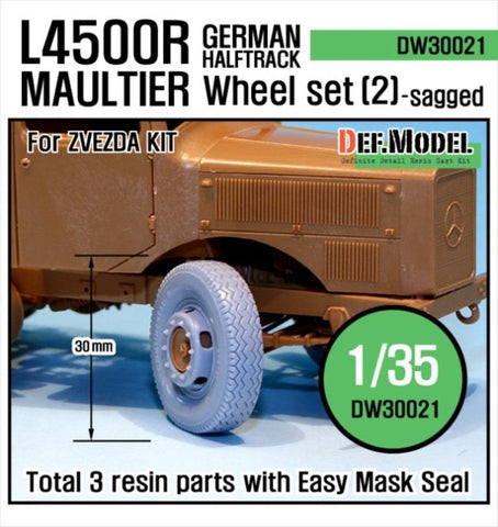GERMAN L4500R Maultier Wheel set (2) for Zvezda 1/35     Another Continental sagged 2 front wheels and 1 spare wheel     Naturally self-weight deformed tire shape     270/75-20 size tire     Total 3 resin parts and Wheel mask