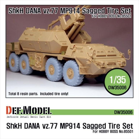 ShKH DANA Vz.77 MP914 Sagged Tire set for Hobbyboss 1/35     Late type 8 sagged wheels     Correct tire patterns,     Total 8 resin parts