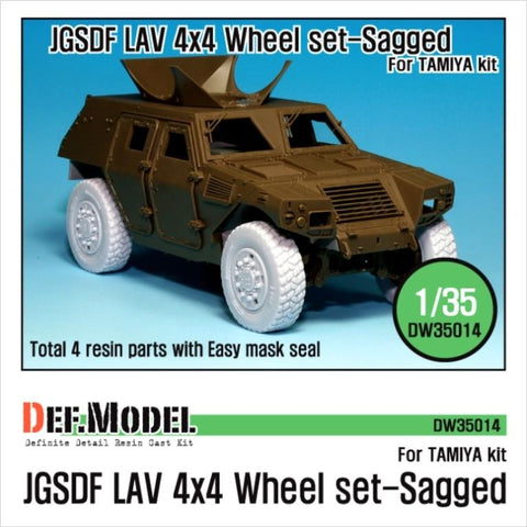JGSDF LAV 4x4 Sagged Wheel set for Trumpeter 1/35     4 sagged wheels for Trumpeter kit     Total 4 resin parts and Wheel mask