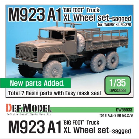"M923A1 'BIG FOOT' Truck Michelin 'XL' tires Sagged Wheel set for Italeri 1/35     Correct tires tread pattern, Fine detail ""Michelin XL tire""     Changed roadwheels pattern align. Add new D,E,F wheel parts     Right side /Left side front,mid,rear wheels and spare wheel     and Easy wheel mask     Total 7 resin parts & Wheel mask"