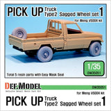 Pick up truck type 2-1 for Meng Model 1/35 VS004     Correct tires tread pattern, Fine detail wheels     2 kind of different pattern directions weighted wheels x2     1 spare wheel included     New type Spare wheel resin gate.     Total 5 resin parts & Wheel mask