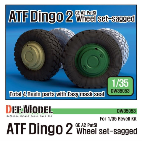 ATF Dingo 2 GE A2 PatSi sagged wheel set for Revell 1/35     Correct tires tread pattern, Fine detail wheels     2 kind of different pattern directions weighted wheels x2     and Easy wheel mask     Total 4 resin parts & Wheel mask