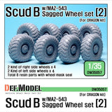 Scud B w/MAZ-543 Sagged Wheel set 2 for Dragon 1/35 kit     Correct tires tread pattern, Fine detail tire.     Include 2 kind of Right side wheels 4 and 2 kind of left side wheels 4     Total 8 resin parts & Wheel mask