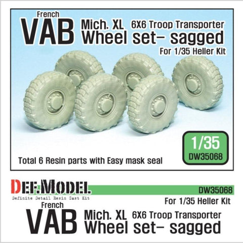 French VAB 6x6 Transporter sagged wheel set for Heller 1/35 kit.     Produced Michelin XL Tires     Correct tires tread pattern, Fine detail wheels     Consist to 3 Right side wheels and 3 left side wheels     6 kind of different pattern directions weighted wheels     and Easy wheel mask     Total 6 resin parts & Wheel mask