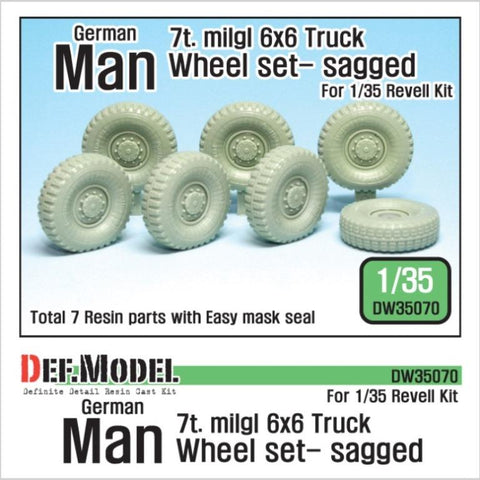 Modern German Man 7t. Mil gl 6x6 Truck sagged wheel set for Revell 1/35 kit.     Produced recently use Continental Tires     Correct tires tread pattern, Fine detail wheels     3 kind of different pattern directions weighted wheels x2 and 1 spare     and Easy wheel mask     Total 7 resin parts & Wheel mask