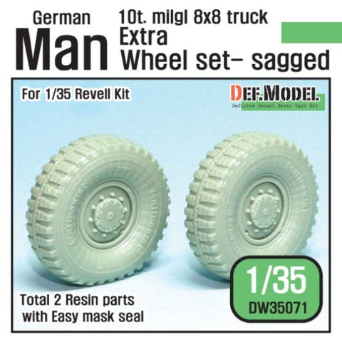 For Modern German Man 10t. Mil gl 8x8 Truck Extra 2ea sagged wheel set for Revell 1/35 kit     To change all the wheel it requires a separate DW35070 set.     Produced recently use Continental Tires.     Correct tires tread pattern, Fine detail wheels.     Extra weighted wheels x2     and Easy wheel mask     Total 2 resin parts & Wheel mask