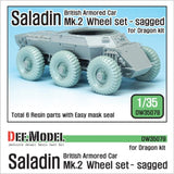 British Saladin Mk.II Armored Car sagged wheel set for Dragon 1/35 kit.     Produce Saladin tire - Dunlop Ground grip 12.00-20     Correct tires tread pattern, Fine detail wheels     3 kind of different pattern directions weighted wheels x2     and Easy wheel mask     Total 6 resin parts & Wheel mask