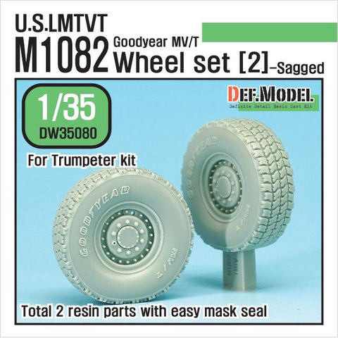 For Modern US M1082 LMTV Trailer sagged wheel set(2) for Trumpeter 1/35 kit     Produced recently use Goodyear MV/T Tires.