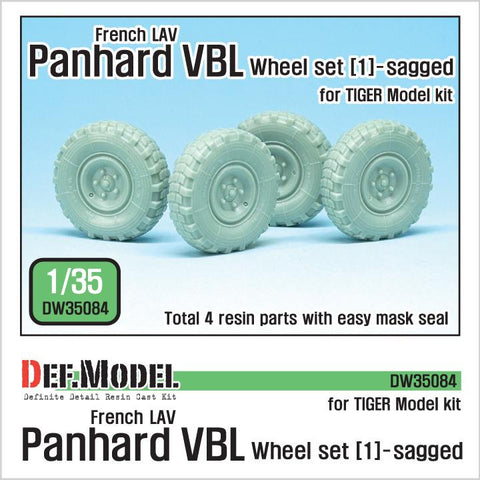 French Panhard VBL LAV sagged wheel set(1) for Tiger model1/35 kit.     Produce Michelin XL 9.00-R16 tire