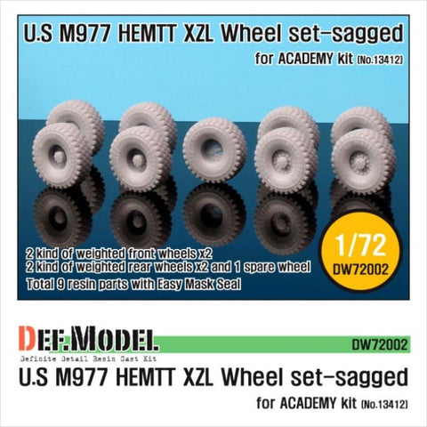 M977 HEMTT Sagged Wheel set for Academy 1/72 kit     Correct tires tread pattern, Fine detail Michellrin XZL tire     4 kinds of different pattern directions weighted wheels X2, 1 spare wheel and Easy wheel mask     Total 9 resin parts & Wheel mask