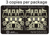 Alliance Model Works 1:350 WWII USN 40mm Bofors Quad Mt w/ Shield #NW35030