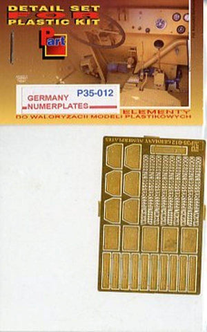 Part 1:35 WWII German Numberplates License Plates PE Detail #P35012 N/A Part PE