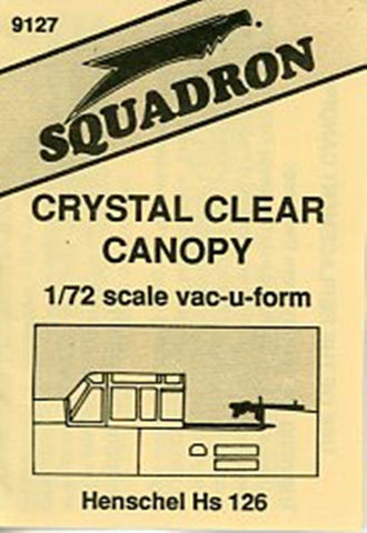 Squadron 1:72 Henschel Hs 126 Crystal Clear Canopy Vacuform Detail #9127 N/A Squadron