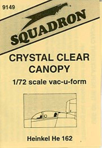 Squadron 1:72 Heinkel He 162 Crystal Clear Canopy Vacuform Detail #9149 N/A Squadron