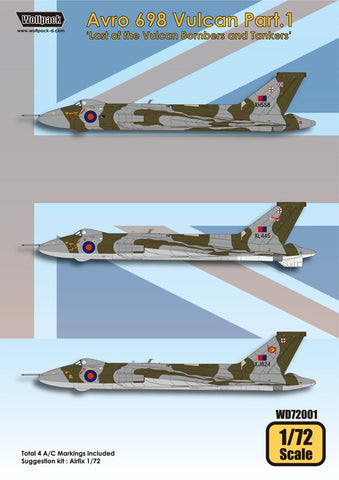 Wolfpack 1:72 Avro Vulcan B.2 K.2 Decal Part.1 for Airfix Decal #WD72001 N/A Wolfpack Design