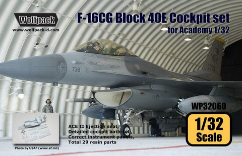 Wolfpack 1:32 F-16CG Block 40E Cockpit Set for Academy - Resin Detail #WP32060 N/A Wolfpack Design
