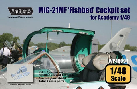 Wolfpack 1:48 MiG-21 MF Fishbed Cockpit Set for Academy - Resin Detail #WP48094 N/A Wolfpack Design