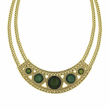 1928® Green Stone Gold-Tone Statement Necklace - Must Have Shoes and More