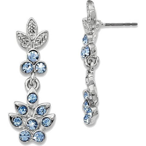 1928 Blue Crystal Dangle Post Earrings Silver-tone