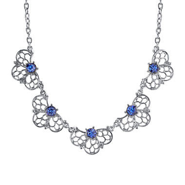 1928® Jewelry Blue Crystal Silver-Tone Filigree Necklace - Must Have Shoes and More