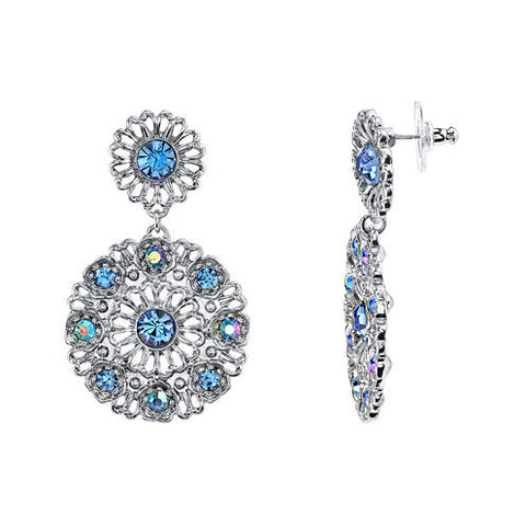 EoCot Silver Plated Round Shape Blue Crystals Butterfly Dangle Earrings for Women Girl